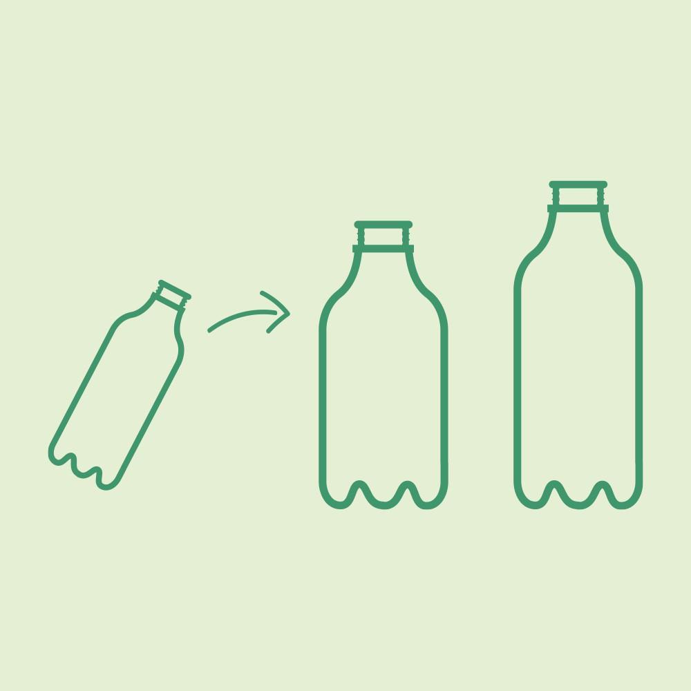 Bottles on a light green background