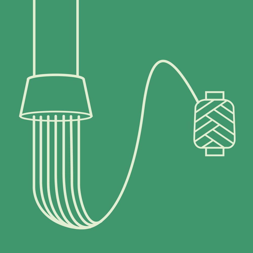 Yarn spinning on green background