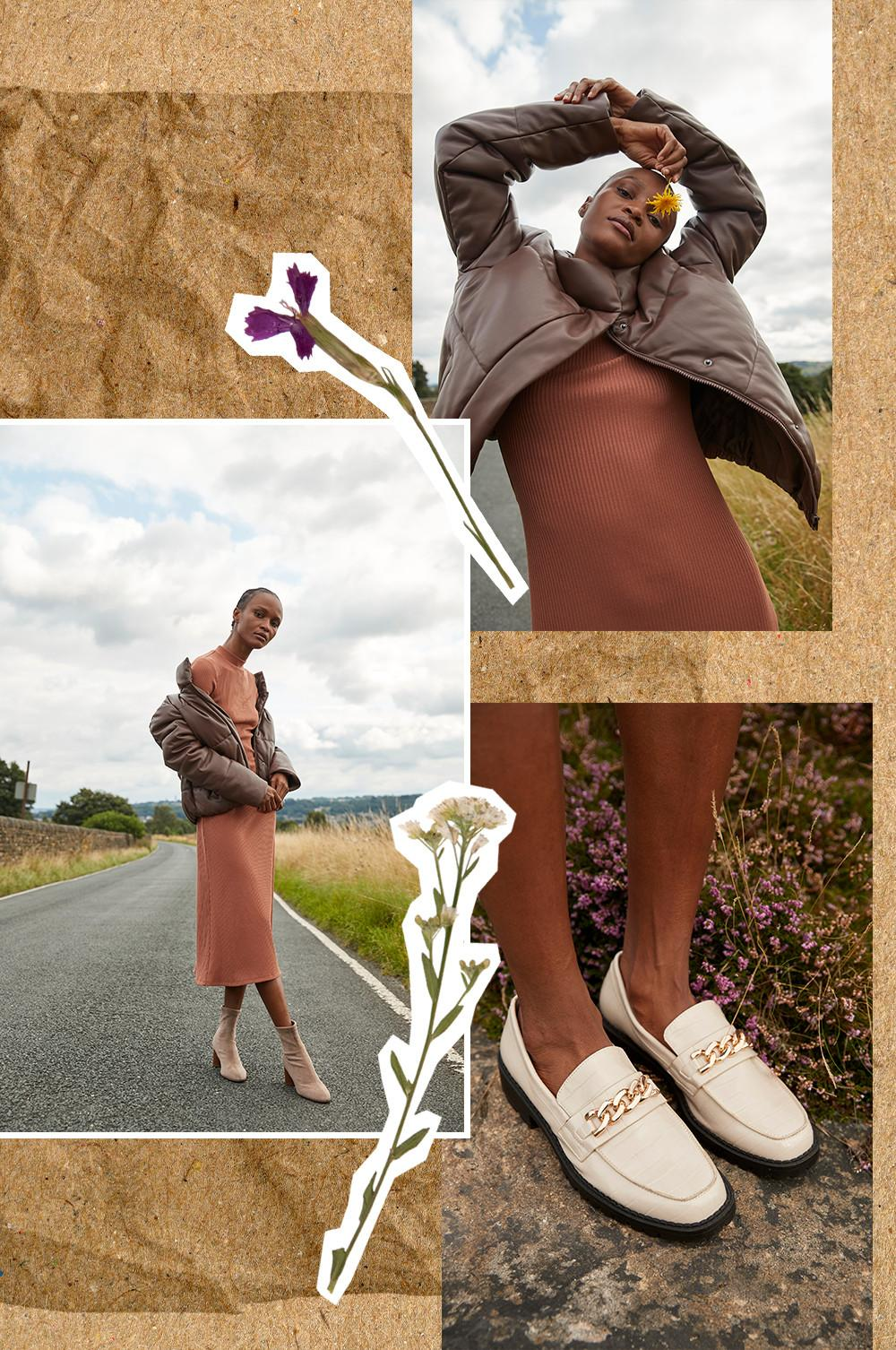 collage of model in rust dress and white loafers with gold chain