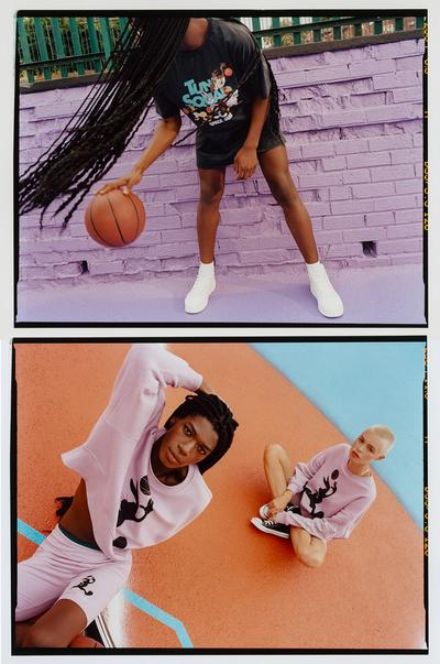 Models wearing Space Jam clothing and playing basketball