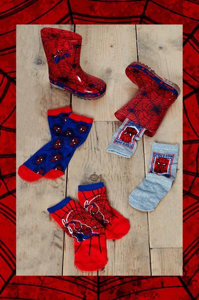 meias e galochas Homem-Aranha