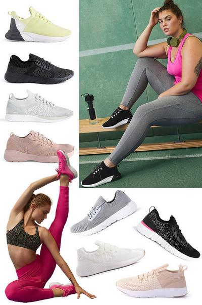 Women's workout sneaker collage