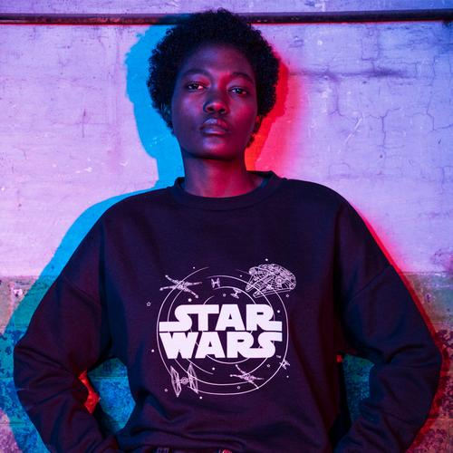 Model in a Star Wars sweatshirt