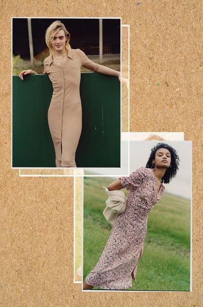 Modellen met beige midi-jurk en gebloemde midi-jurk