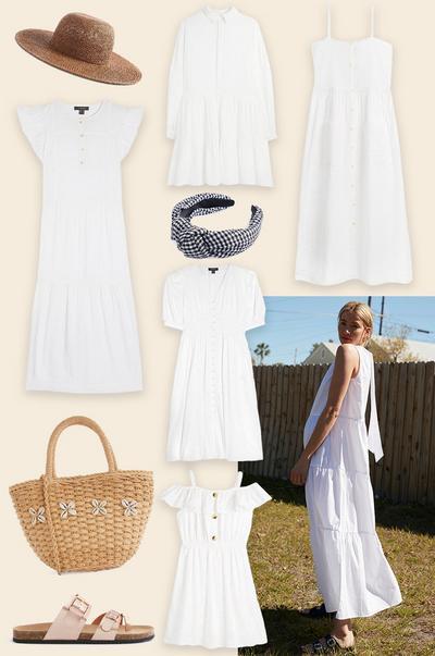 biała sukienka – kolaż