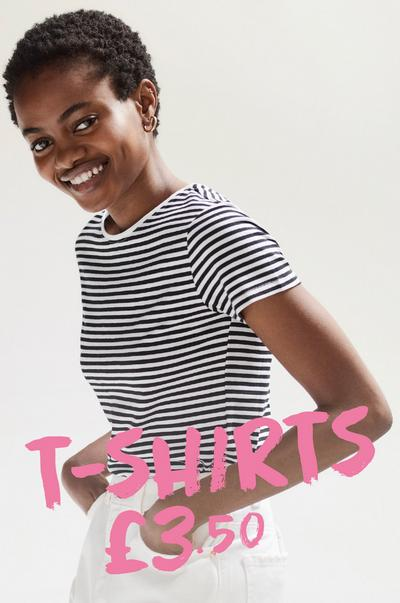 Woman wearing striped t-shirt