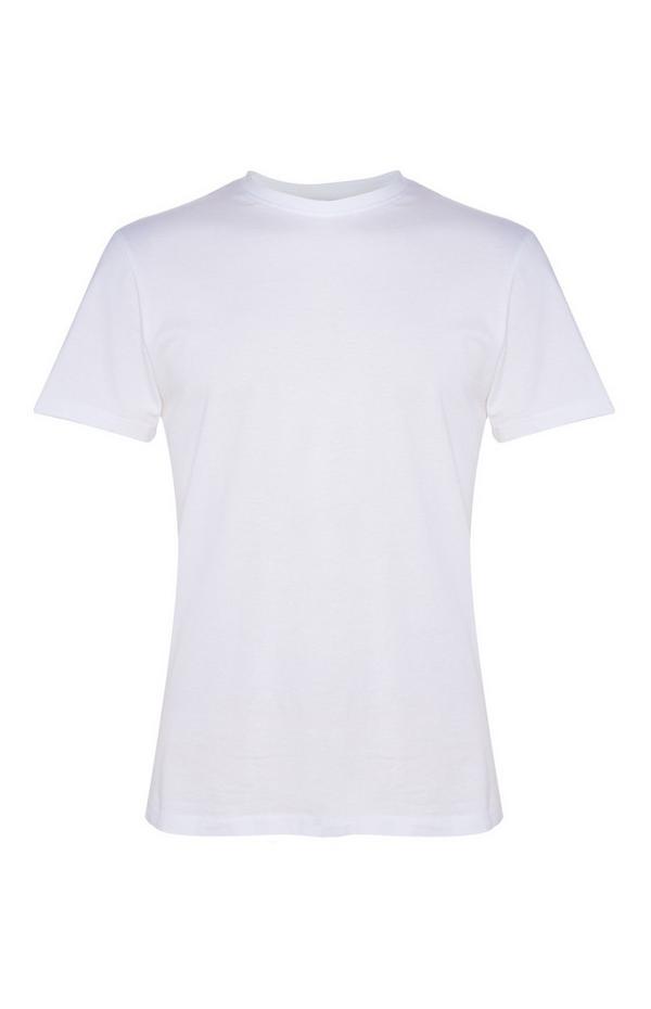 Bela majica z okroglim ovratnikom