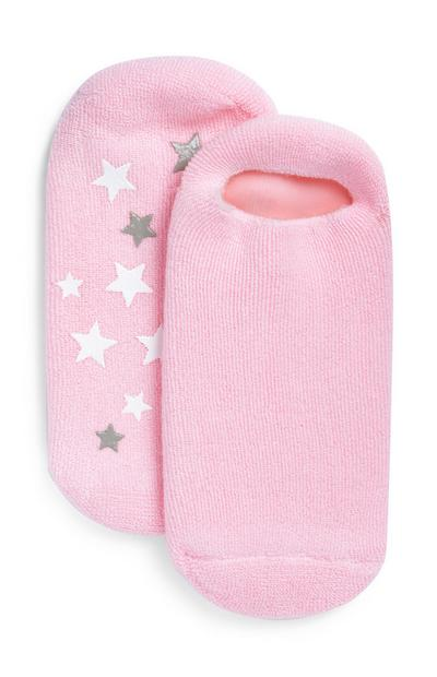 Pink Star Print Pedigel Socks