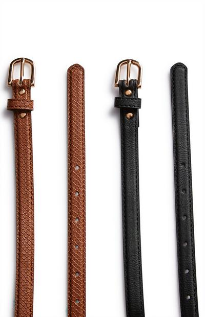 Black And Tobacco Skinny Belts 2 Pack