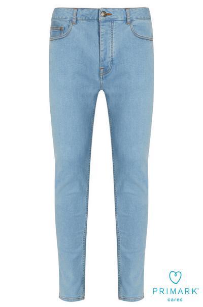 Calças ganga skinny algodão sustentável azul-claro