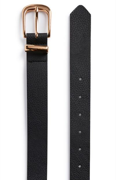 Black Rose Gold-tone Buckle Jeans Belt