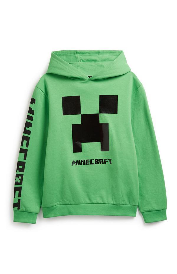 Older Boy Green Minecraft Hoodie