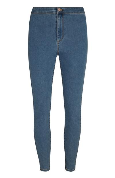 Mid Blue Super High Waist Shaping Skinny Jeans