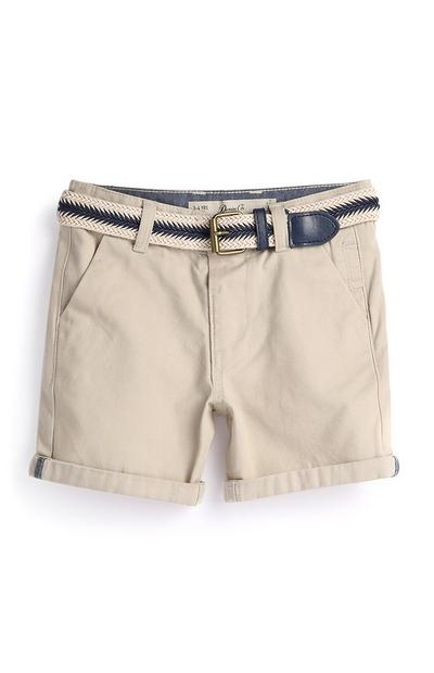 Pantalón corto color piedra para niño pequeño
