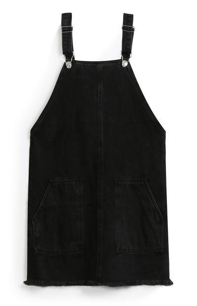 Older Girl Black Overall Dress