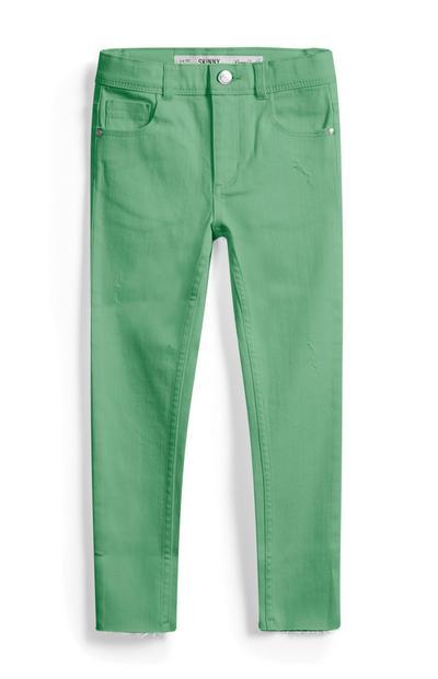 Calças ganga menina verde