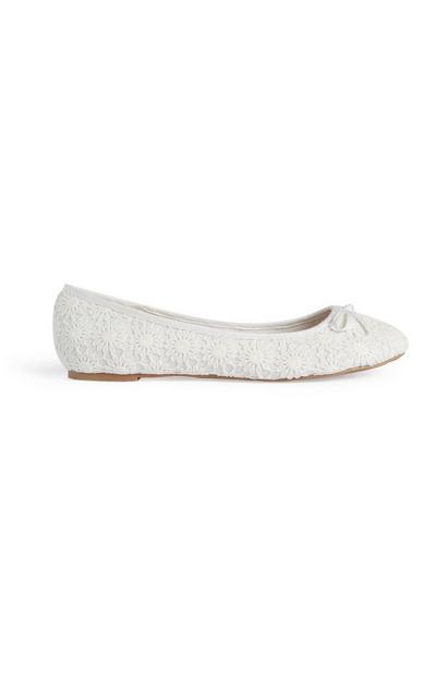 White Crochet Ballerina Pump
