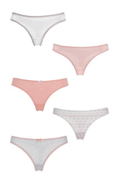 5-Pack Pink Thongs