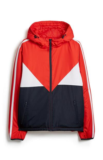 Red Color Block Jacket