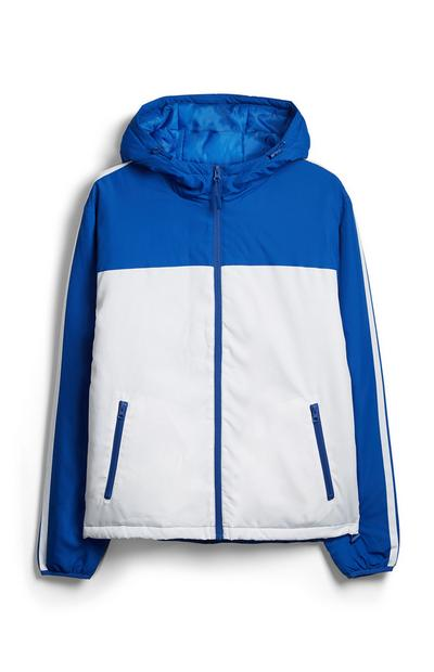 Veste bleue color block