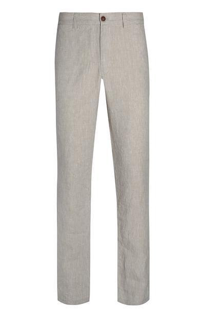 Grey Slim Linen Trousers