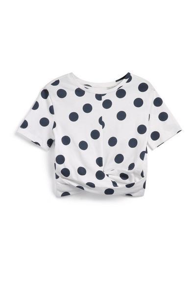 Camiseta de lunares para niña pequeña