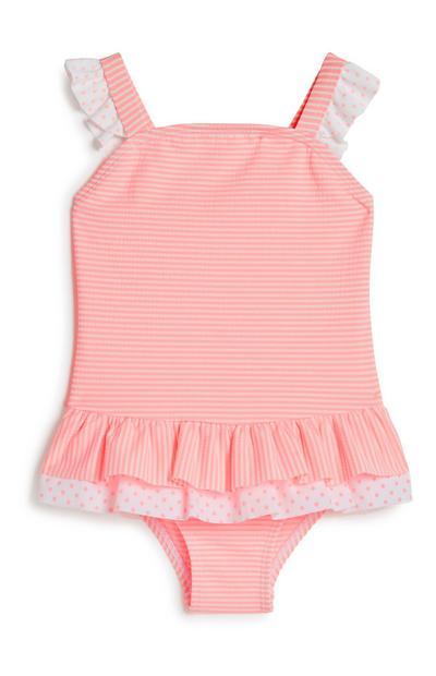 Roze babybadpak met franjes