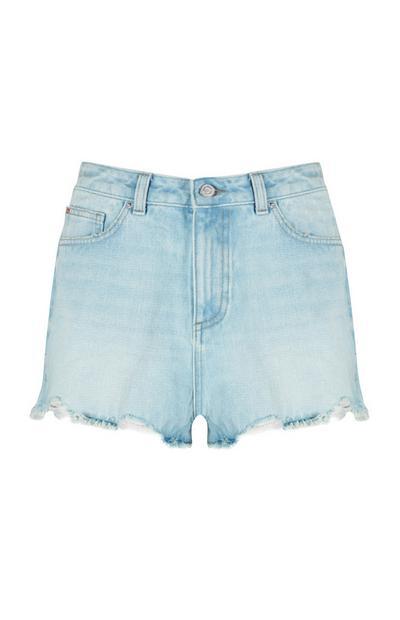 Pantalón corto azul claro de cintura alta
