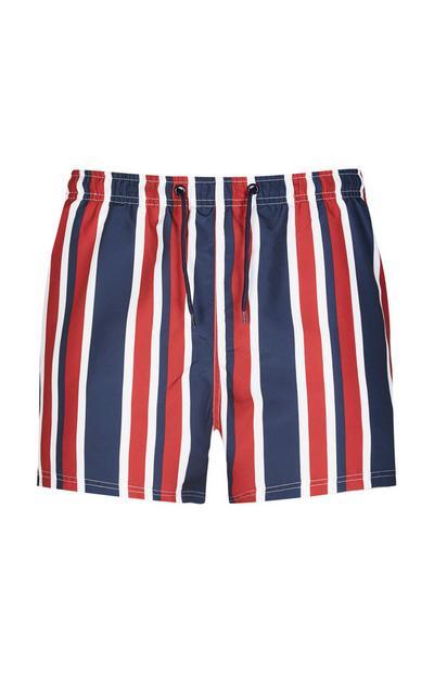 Red And Navy Stripe Swim Short