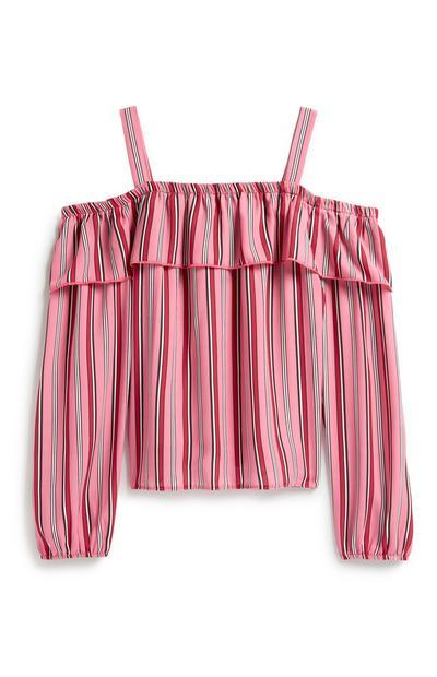 Older Girl Pink Stripe Blouse