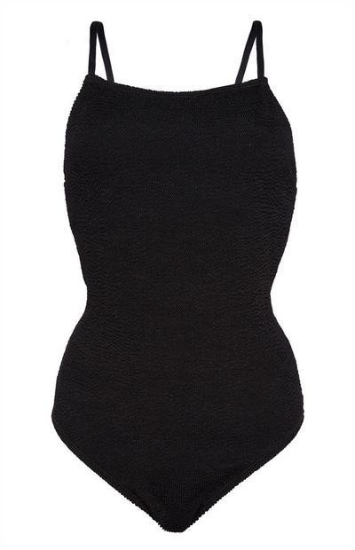 Zwart badpak van krinkelstof