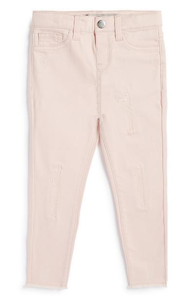 Pantalon en sergé rose déchiré