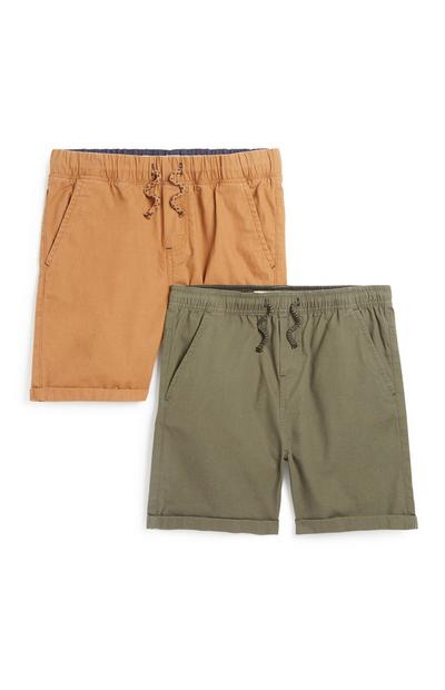 2-delige set canvas short, jongens