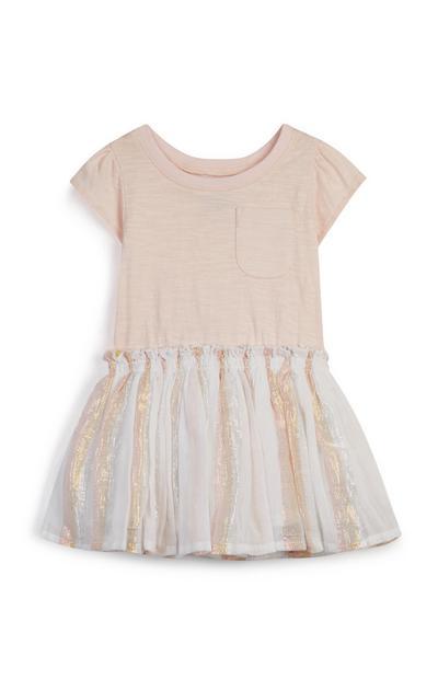 Vestido menina bebé rosa-pálido