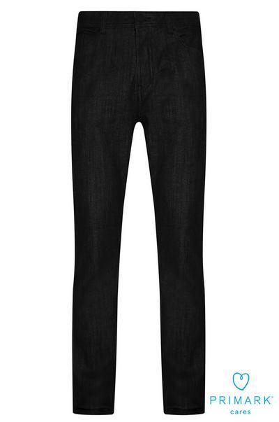 Calças ganga corte direito algodão sustentável preto