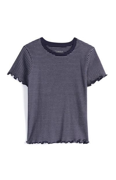 Older Girl Black Striped Top