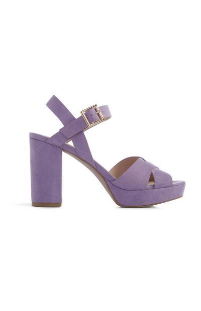 Lila hoge schoen met plateauzool
