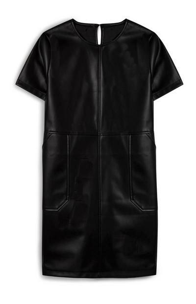 Black Vegan Faux Leather Tunic
