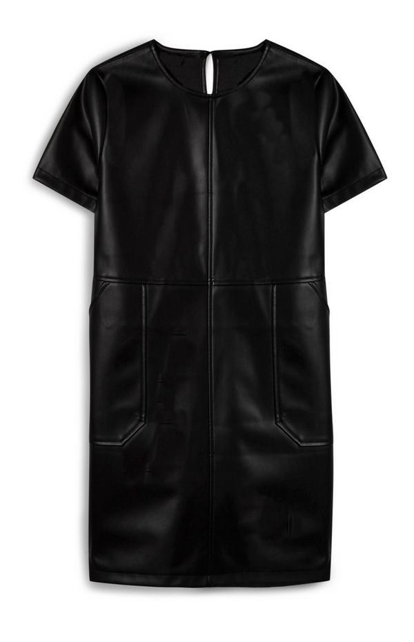 Black Vegan Faux Leather Tunic