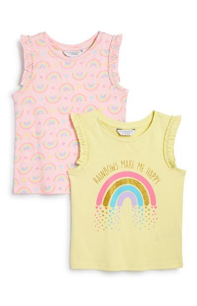 Meisjeshemd met regenboog, 2 st.