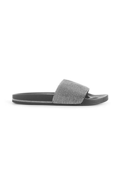 Black Rhinestone Slides