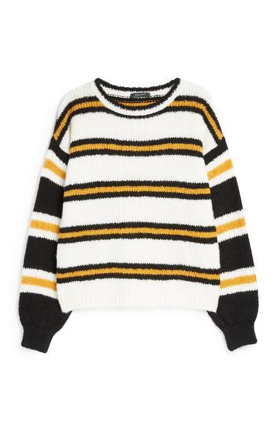 Opvallende trui met mosterdgele strepen