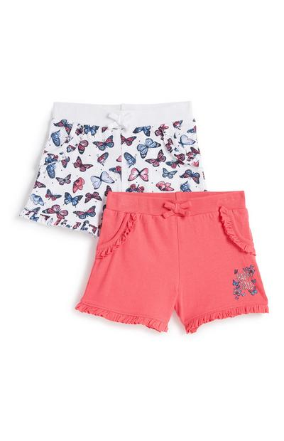 Lot de 2 shorts à motif papillons fille
