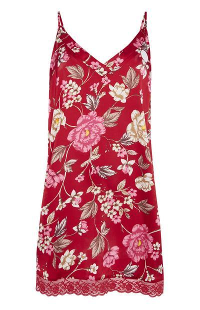 Rode jurk met bloemenprint