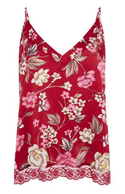 Caraco de pyjama rouge à fleurs
