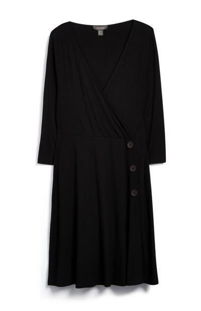 Zwarte jersey wikkeljurk