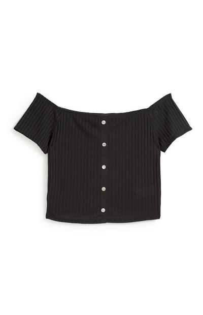 Black Button Bardot Top