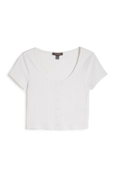 Witte korte top