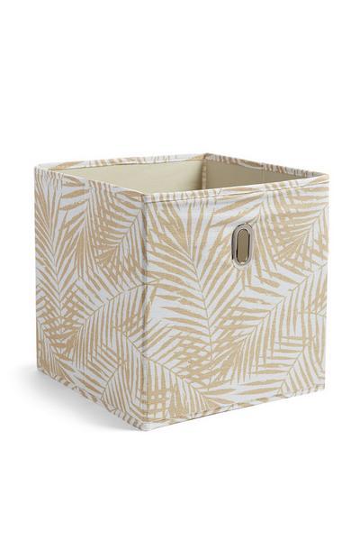 Boîte de rangement cube à motifs feuille
