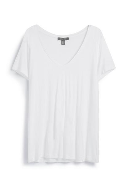 T-shirt decote V branco